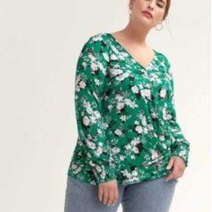 Love & Legend Floral Print Wrap Blouse Green 1X